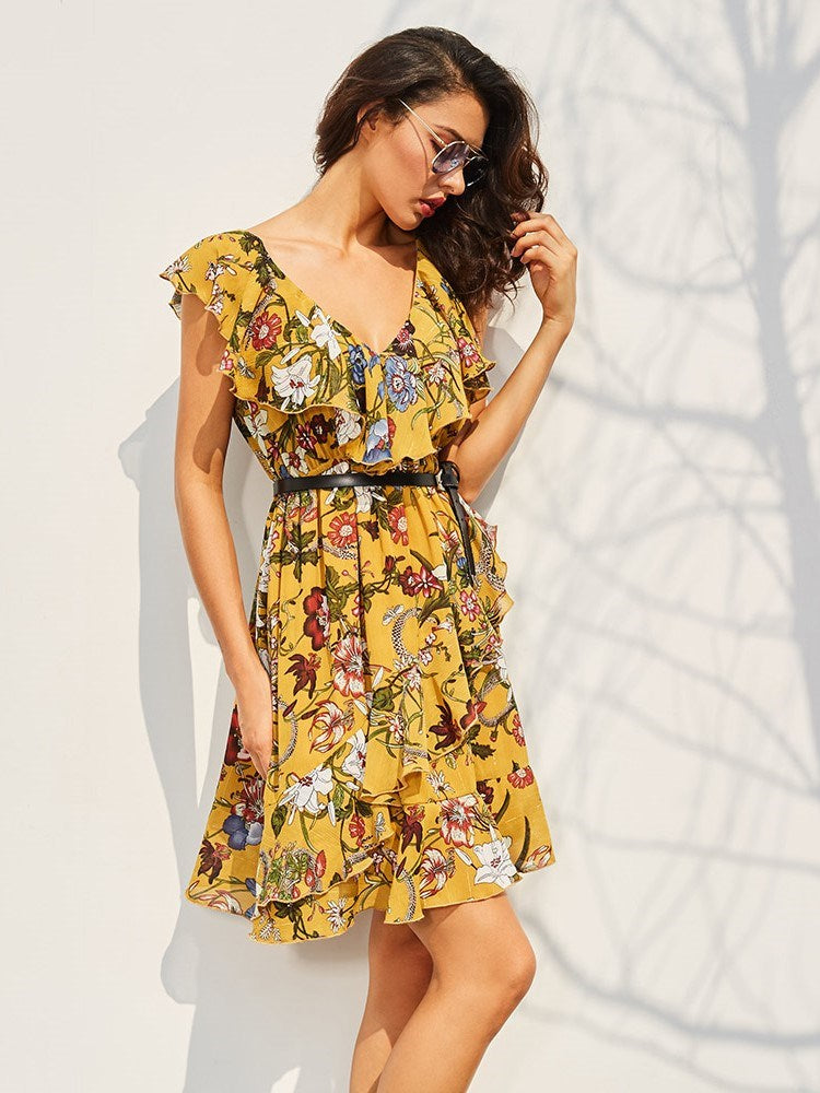 Size S Above Knee Falbala V-Neck A-Line Floral Petite Dress