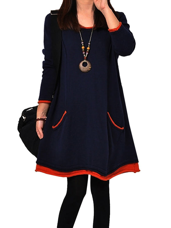Size XL Patchwork Round Neck Long Sleeve Plain Mori Girl Dress