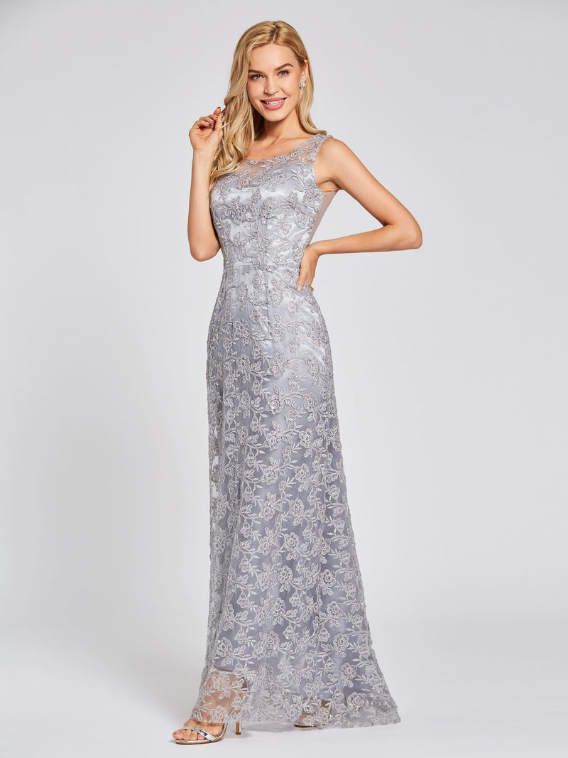 Sleeveless Sweep/Brush A-Line Floor-Length Evening Party Dress