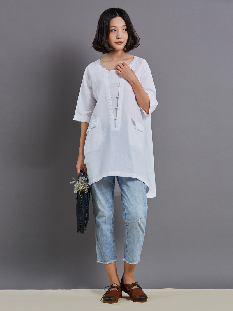 Round Neck Plain Half Sleeve Loose T-Shirt
