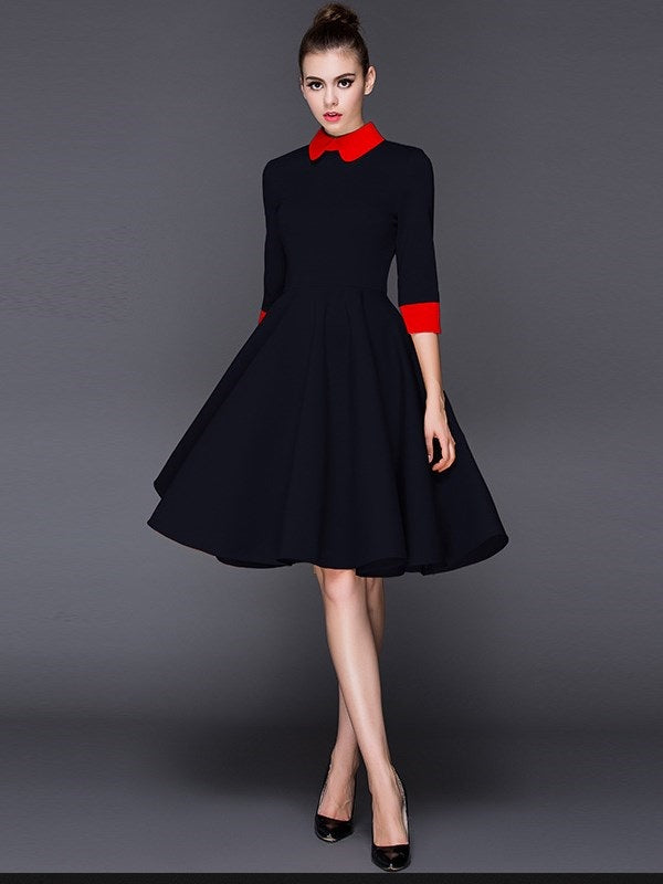 Size 2XL Knee-Length Peter Pan Collar Three-Quarter Sleeve Pullover A-Line Dress