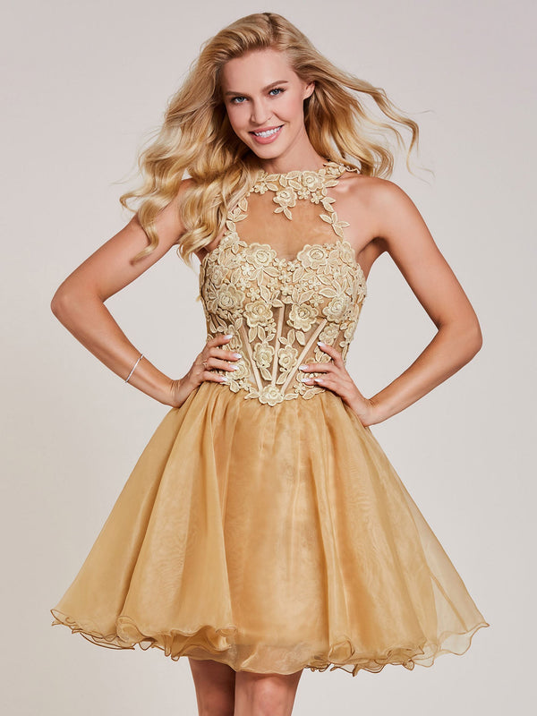 Appliques Sleeveless Yellow A-Line Cocktail Party Dress