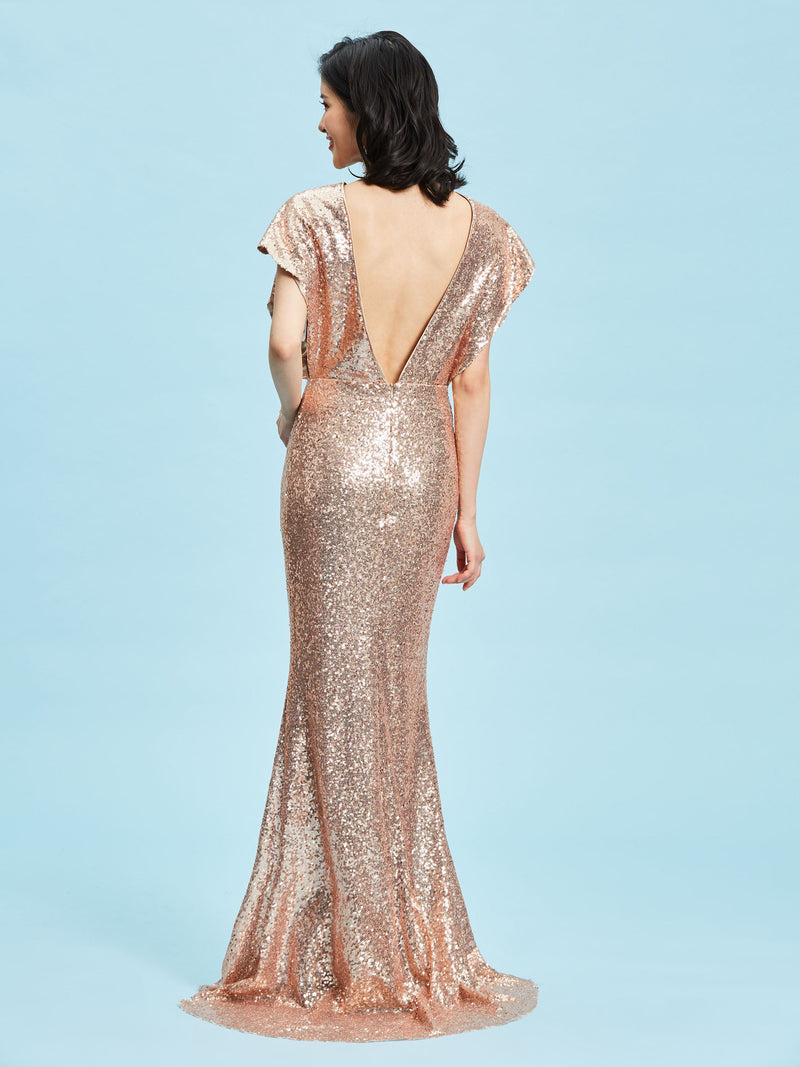 Sweep/Brush A-Line Scoop Sequins Evening Party Dress