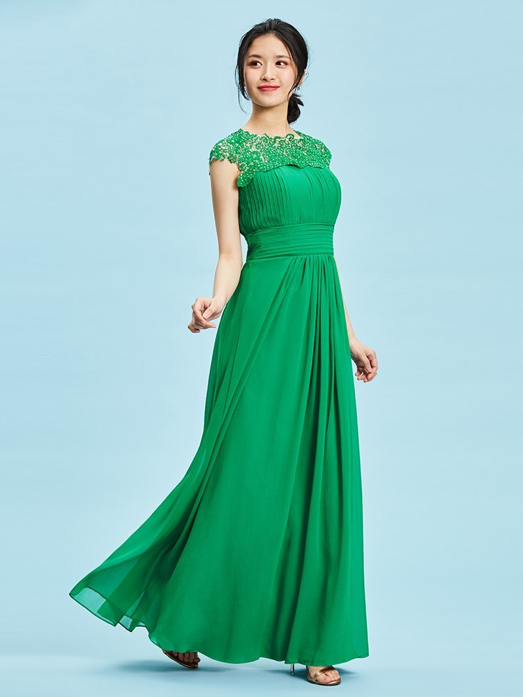 A-Line Floor-Length Scoop Pleats Formal Party Dress
