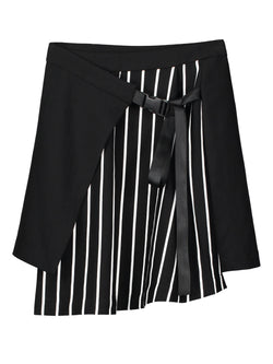 Asymmetrical Stripe Mini Skirt Skirt