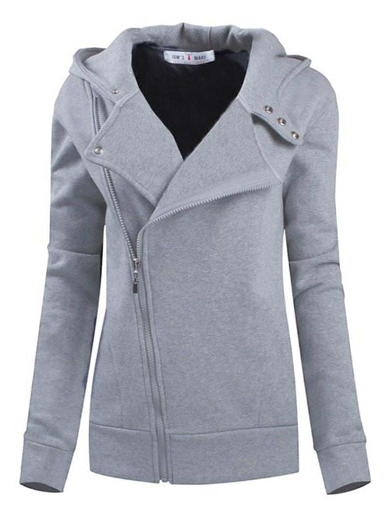 Plain Zipper Regular Long Sleeve Standard Hoodie
