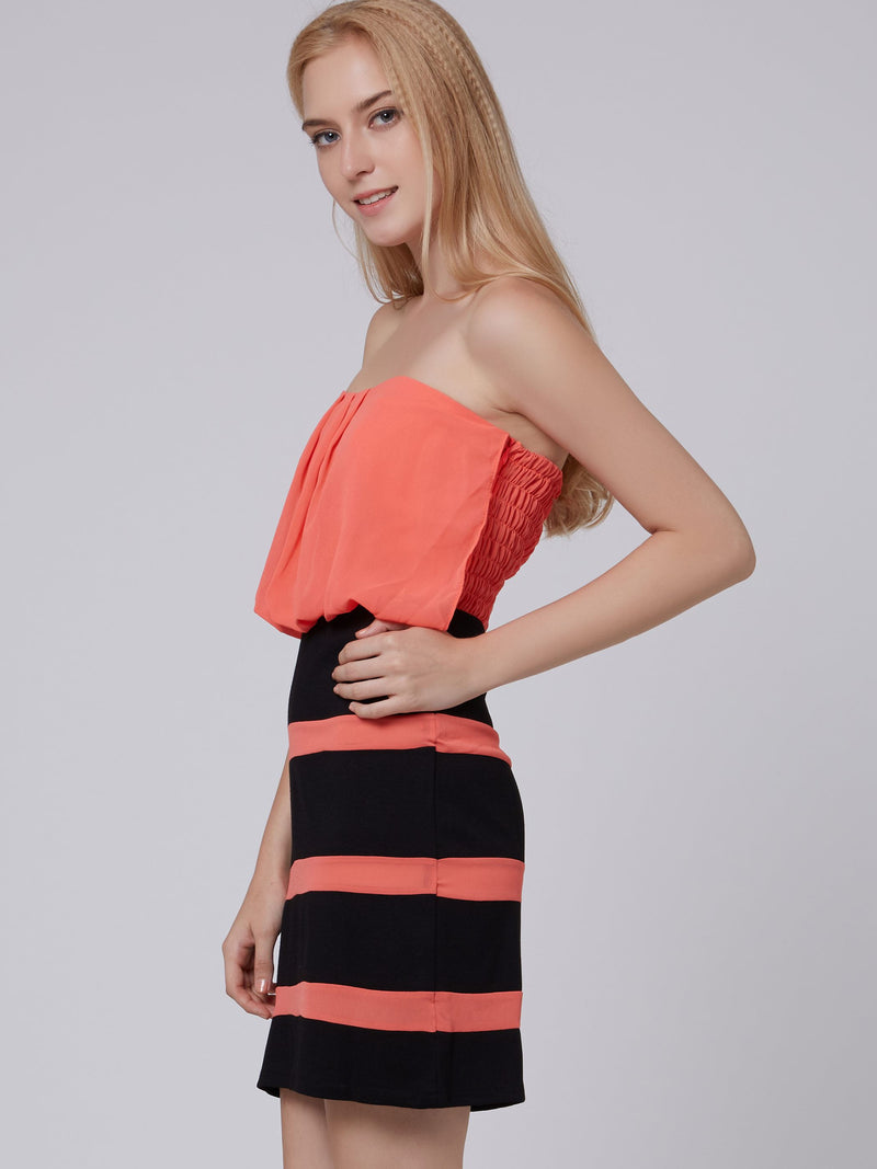 Size L Backless Sleeveless Above Knee Bodycon Stripe Dress