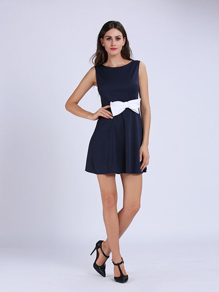 Above Knee Sleeveless Round Neck Zipper Spring Dress