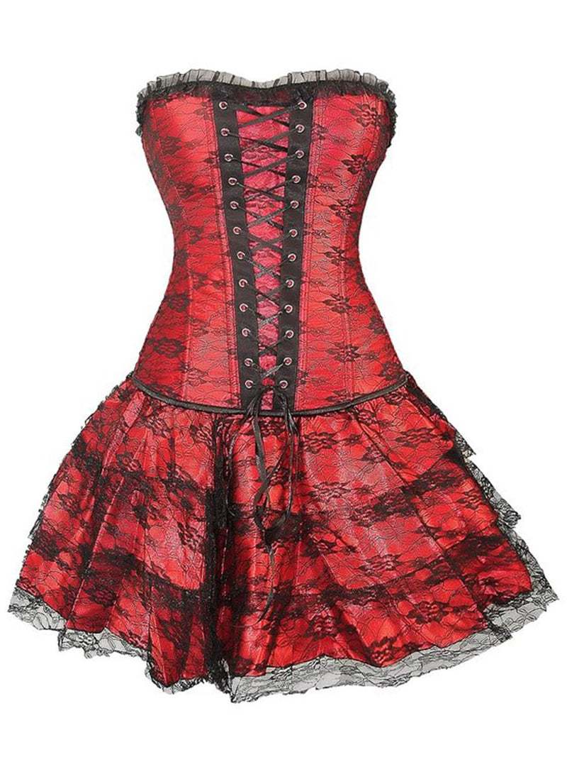 Size S 2XL Lace Color Block Lace Corset Dress Corsets