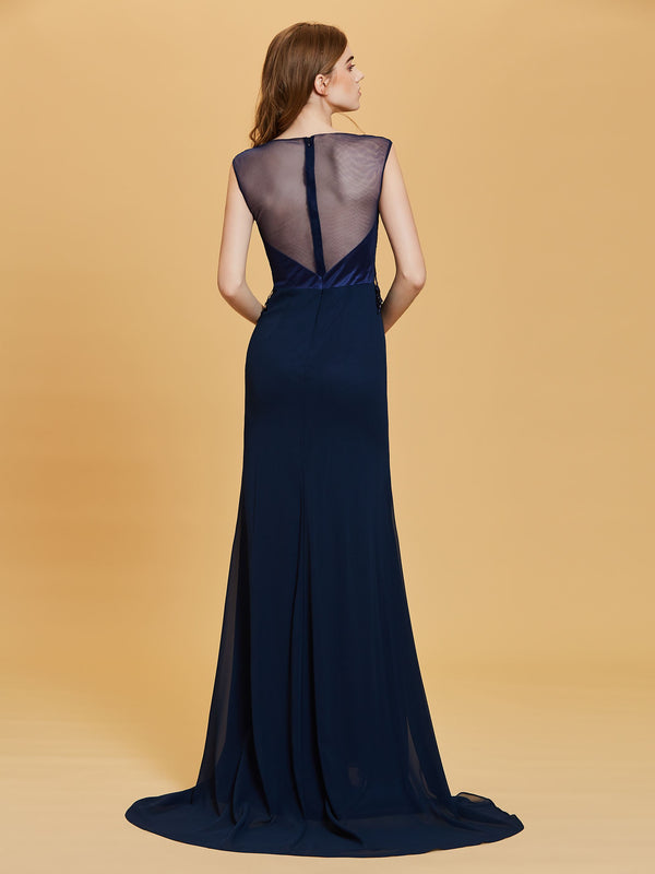 Blue Embroidery Floor-Length Sweep/Brush Formal Party Dress