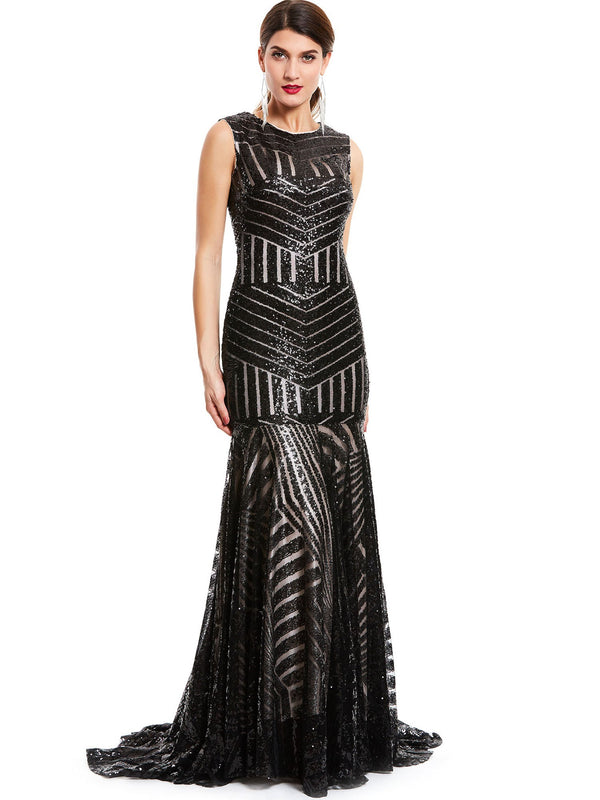 Sweep/Brush Black Sleeveless Trumpet/Mermaid Formal Party Dress