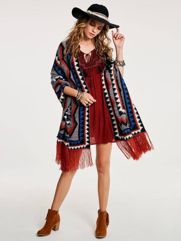 Ethnic Color Block Acrylic Fall Cape