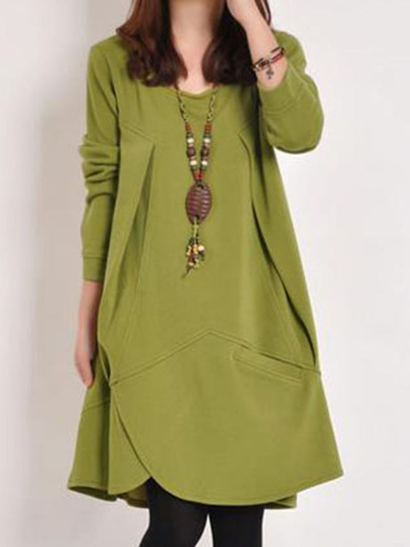 Plus Size Pocket Round Neck Knee-Length Plain Regular Dress