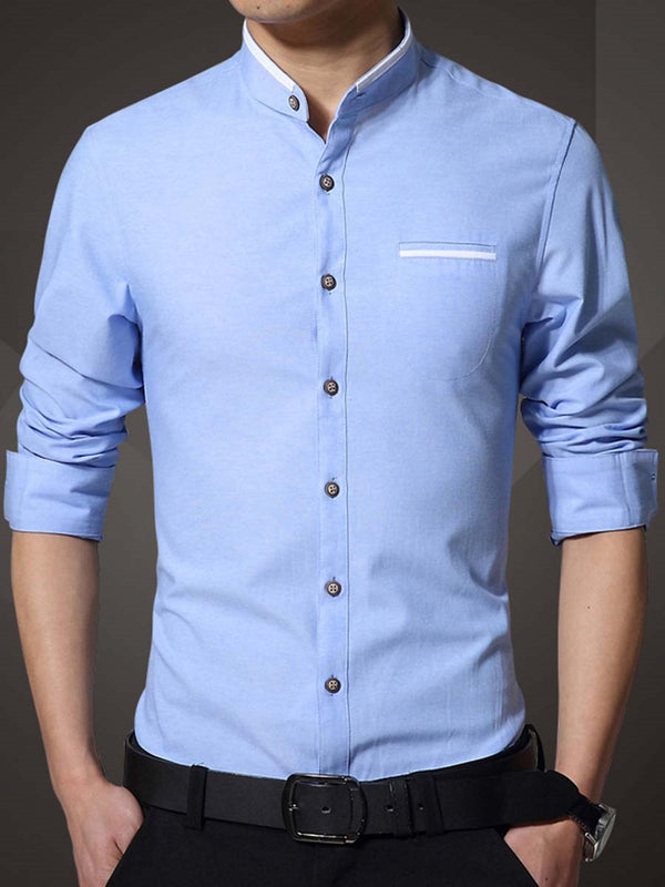 Plain Stand Collar Slim Single-Breasted Shirt