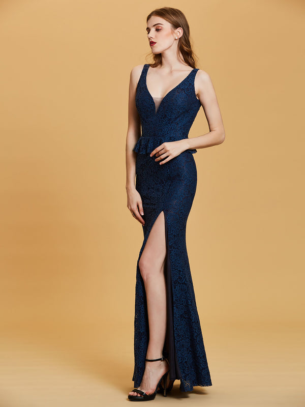 Trumpet/Mermaid Sleeveless V-Neck Blue Evening Party Dress