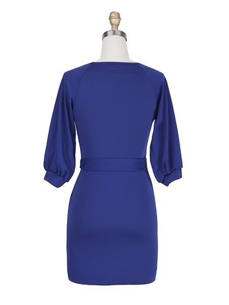 Size S M Round Neck Knee-Length Half Sleeve Pullover A-Line Dress