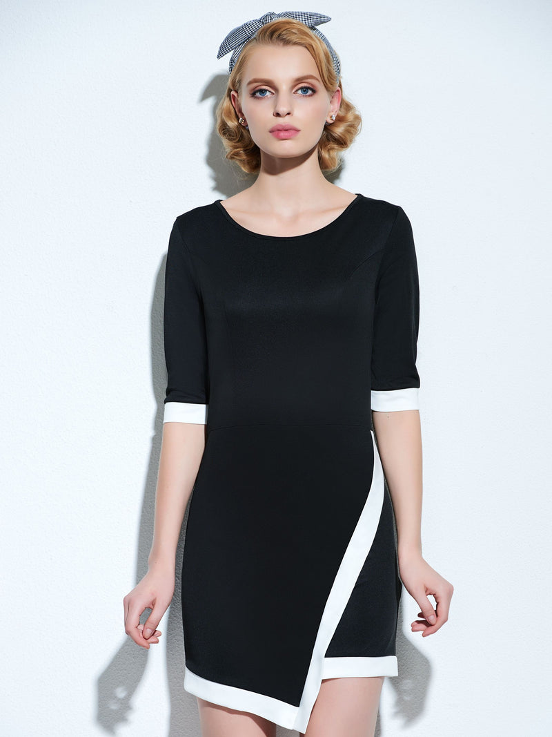 Round Neck Half Sleeve Above Knee Wear to Work/Workwear High Waist Bodycon Dress