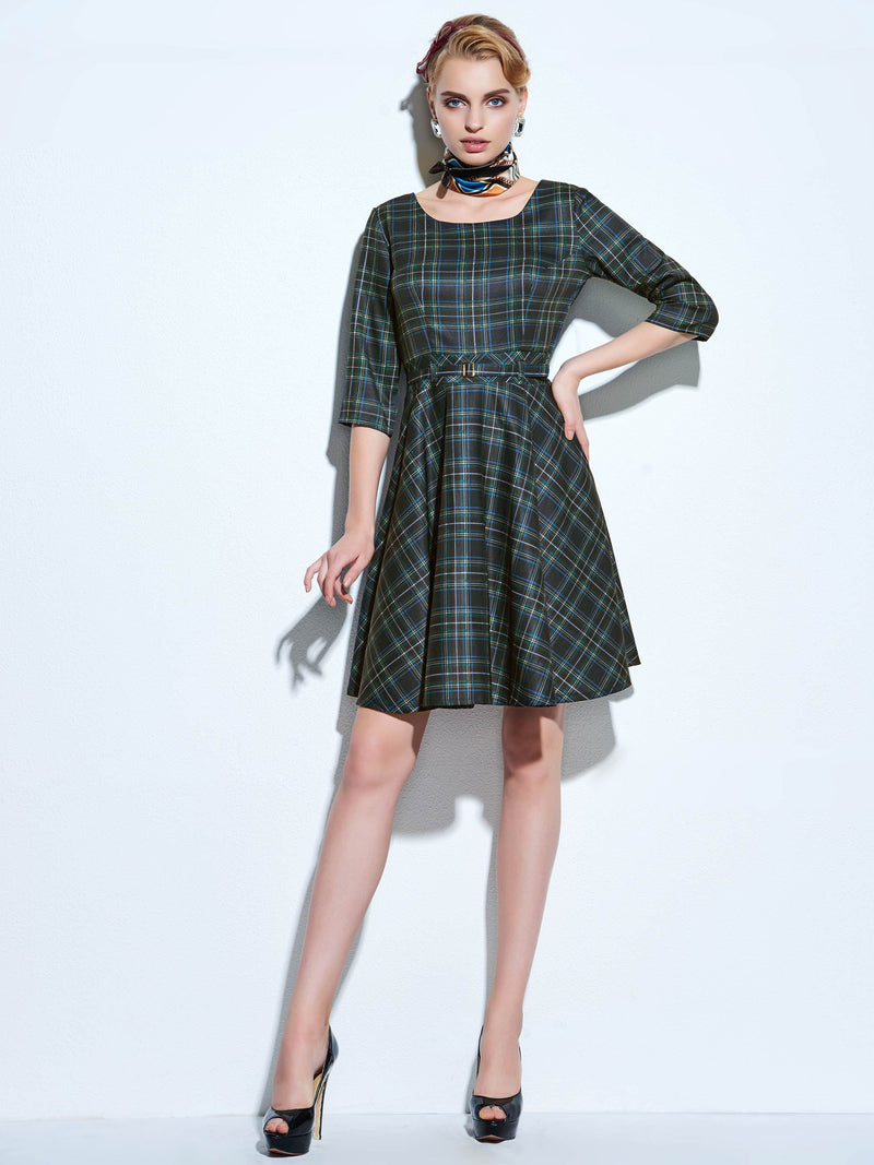 Round Neck Knee-Length Lace-Up Fall Regular Dress