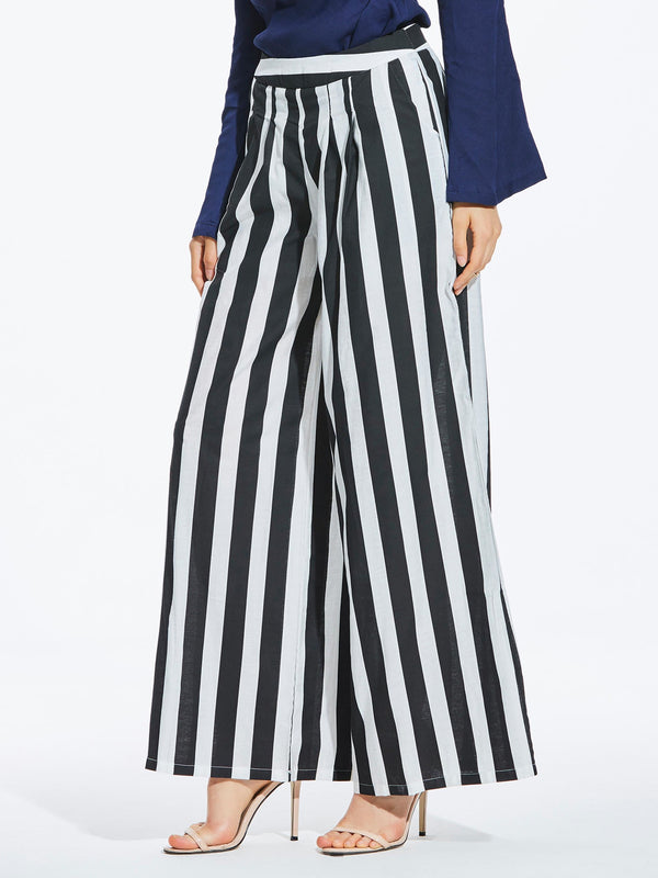 Size M Stripe Slim Wide Legs Full Length Casual Pants
