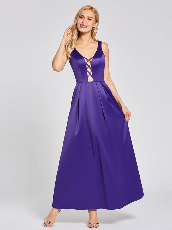 Size US14 US16 Purple V-Neck Floor-Length A-Line Evening Party Dress