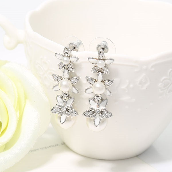 Pearl Inlaid Floral Overgild Birthday Earrings