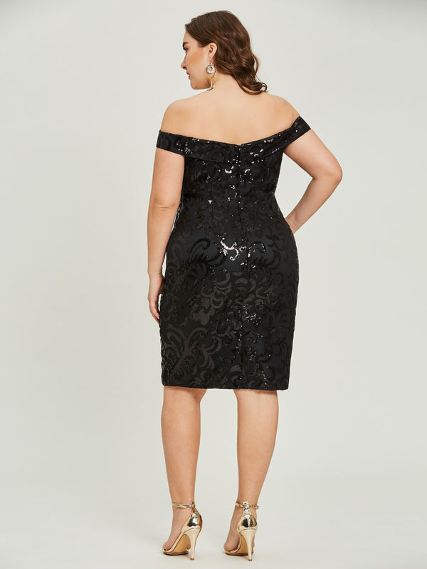 Short Sleeves Black Sheath/Column Sequins Cocktail Party Dress