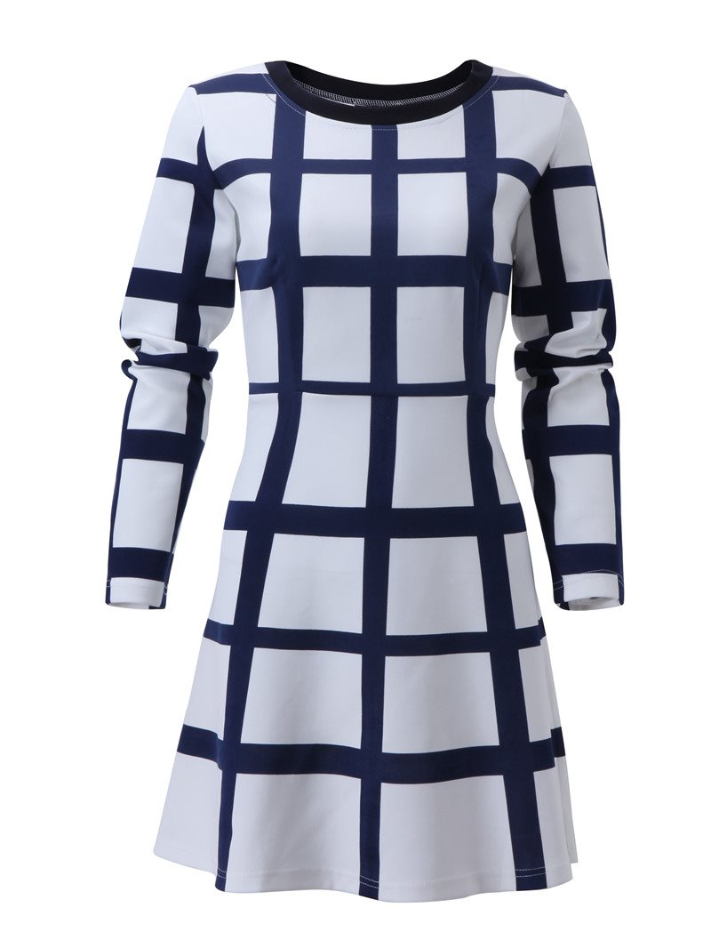Size S Long Sleeve Round Neck Above Knee Spring Plaid Dress