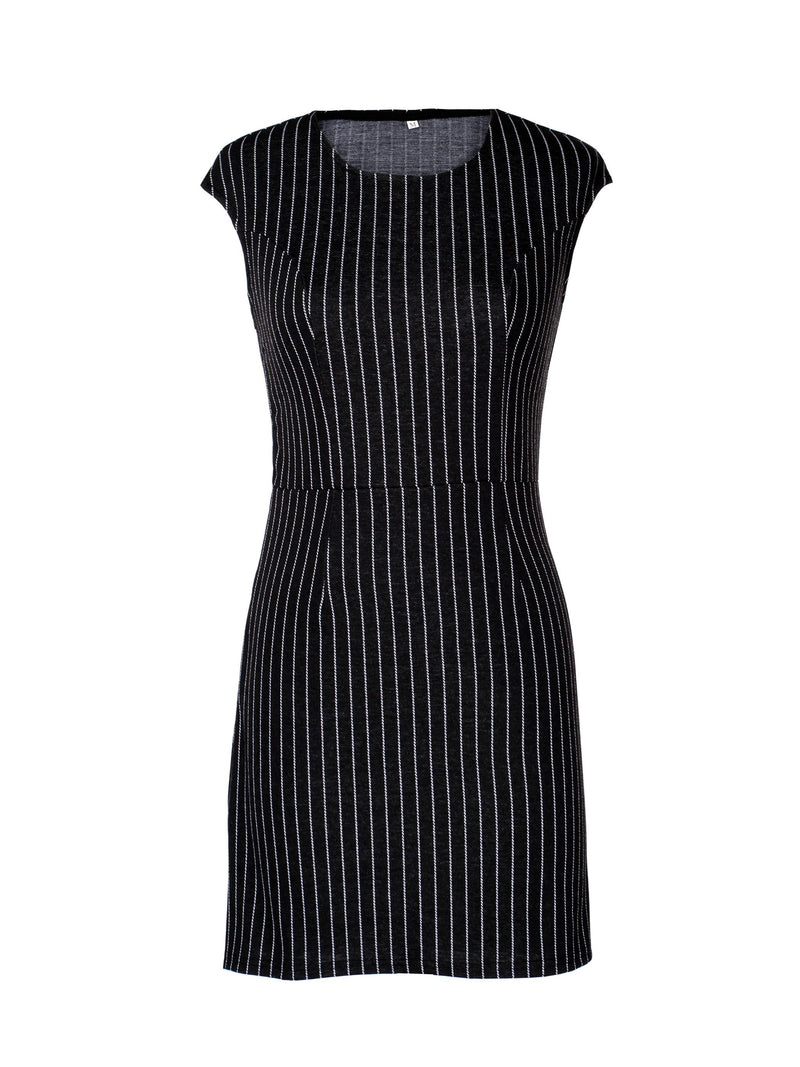 Size L Sleeveless Knee-Length Round Neck Bodycon Pullover Dress