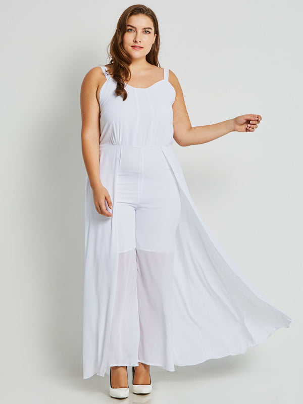 Plus Size Plain Full Length Patchwork Loose Wide Legs Jumpsuit