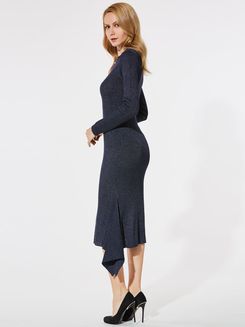 Size M Round Neck Mid-Calf Asymmetric Pullover Plain Dress