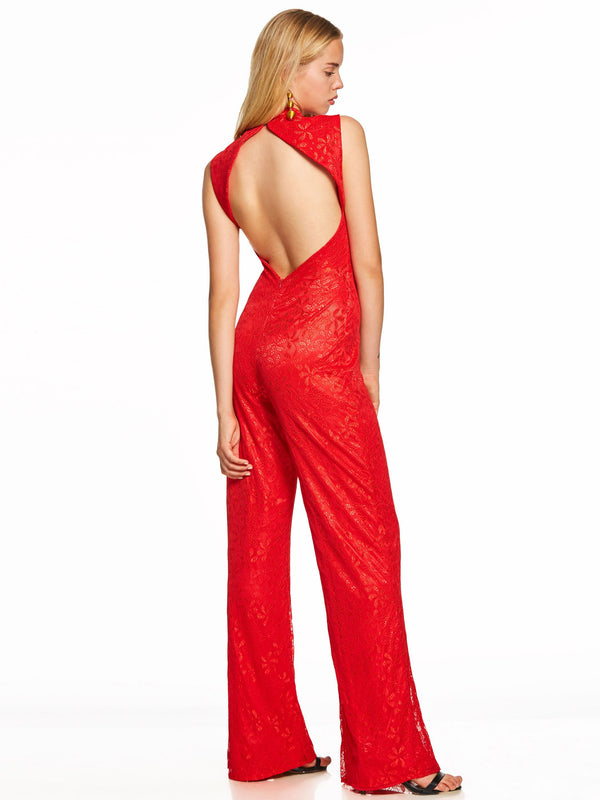 Floor-Length Red High Neck Lace Formal Party Dress