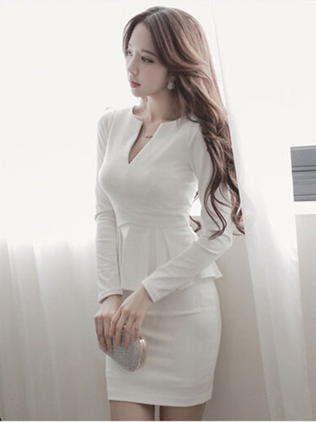 Size S Long Sleeve V-Neck Above Knee Mid Waist Pullover Petite Dress