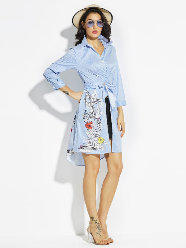 Size M L Lapel Knee-Length Three-Quarter Sleeve A-Line Floral Dress