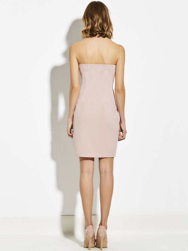 Size L Backless Sleeveless Knee-Length Bodycon Plain Dress