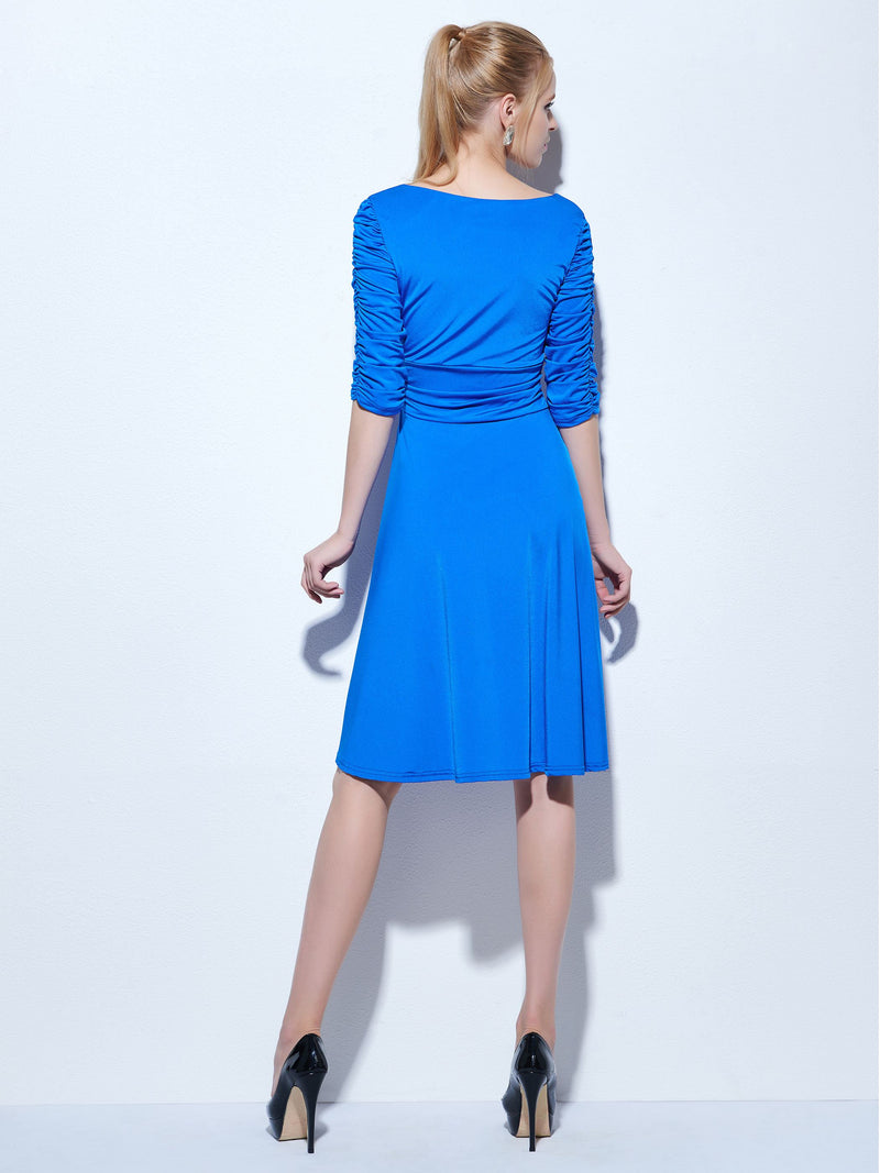 Size US 2 US4 Blue Half Sleeves Ruched Knee-Length Cocktail Petite Party Dress