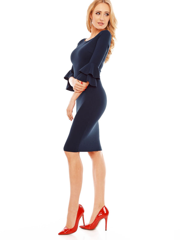 Size L Round Neck Three-Quarter Sleeve Mid-Calf Bodycon Zipper Dress
