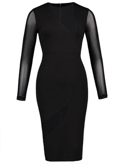 Size S Round Neck Knee-Length Long Sleeve Bodycon Plain Petite Dress