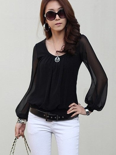 Regular Round Neck Long Sleeve Standard Blouse