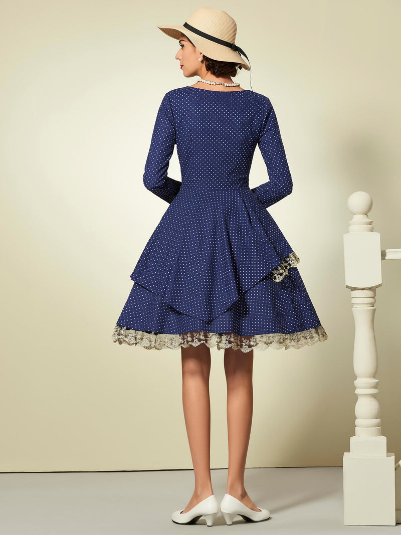 Size S XL Scoop Patchwork Knee-Length A-Line Polka Dots Dress