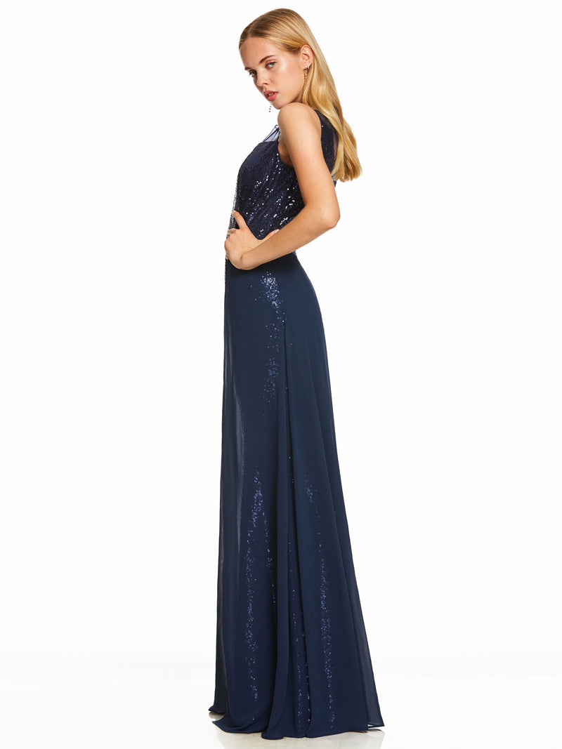 Sequins Floor-Length Blue Sleeveless Formal Party Dress