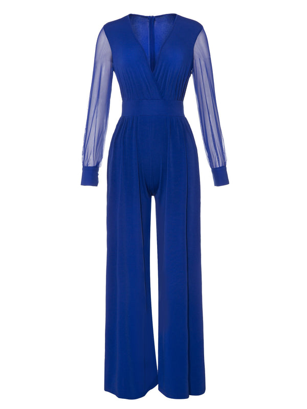 Size L Mesh Full Length Plain Wide Legs Slim Jumpsuit