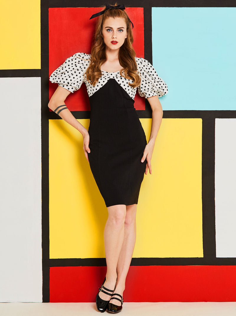 Size S Pleated Short Sleeve Knee-Length Zipper Petite Bodycon Dress