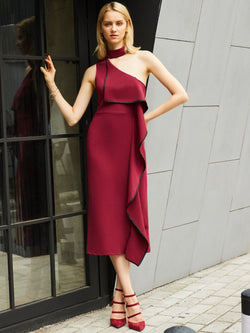 Patchwork Mid-Calf Sleeveless Zipper Plain Dress