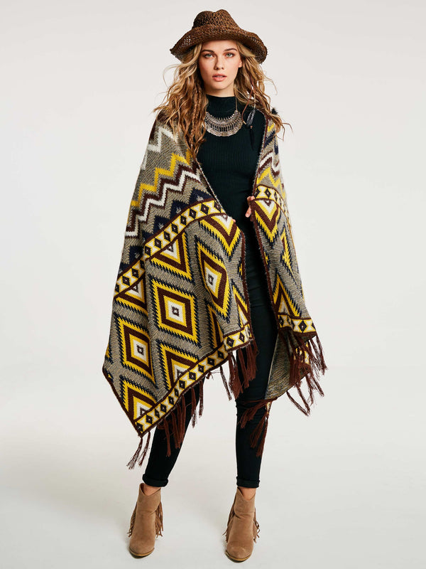 Ethnic Acrylic Color Block Winter Cape