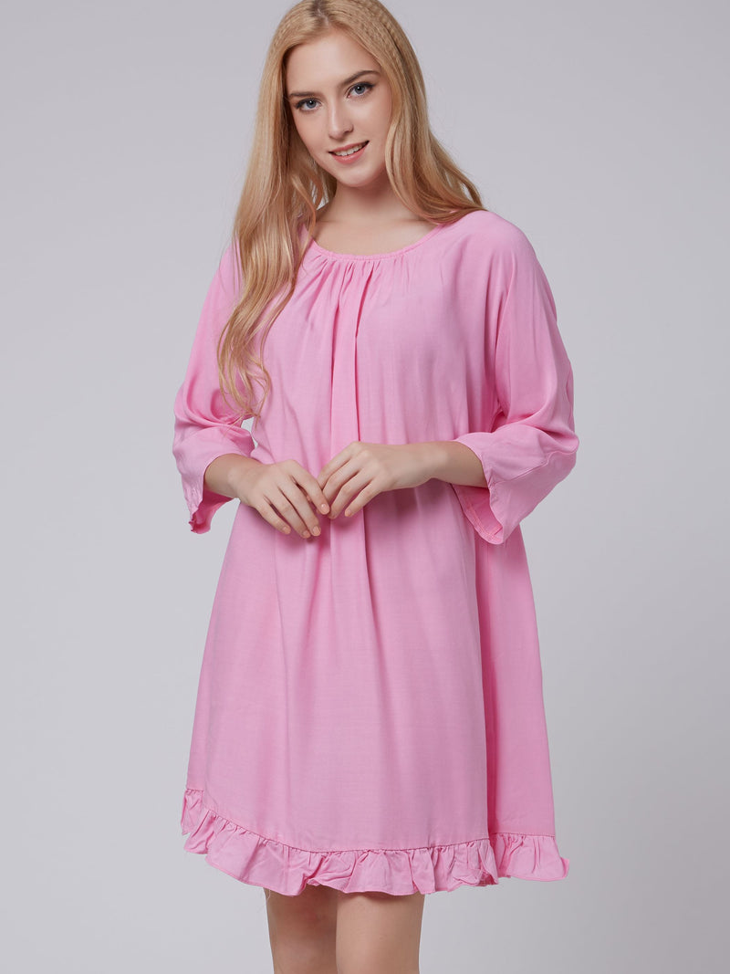 Falbala Three-Quarter Sleeve Round Neck Summer A-Line Dress