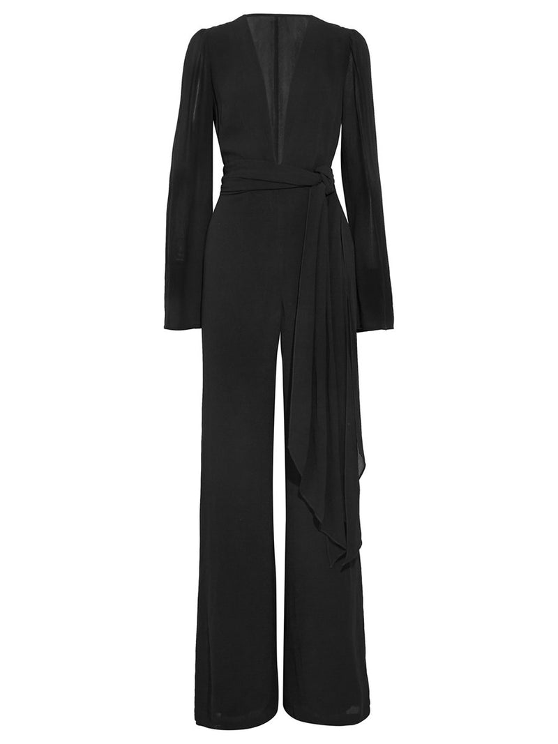 Size XL Full Length Lace-Up Plain Slim Straight Jumpsuit