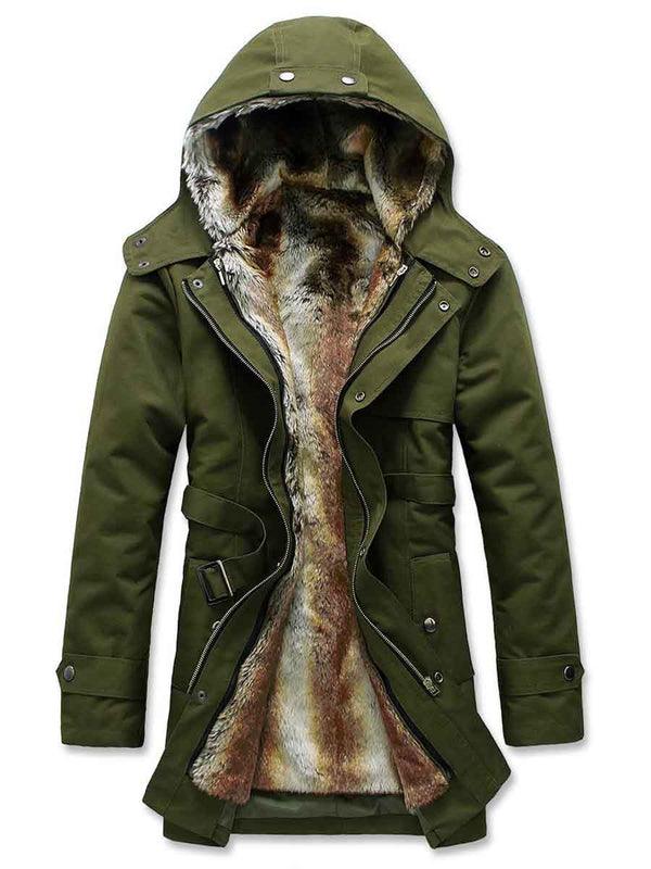 Zipper Mid-Length Hooded Zipper Down Jacket