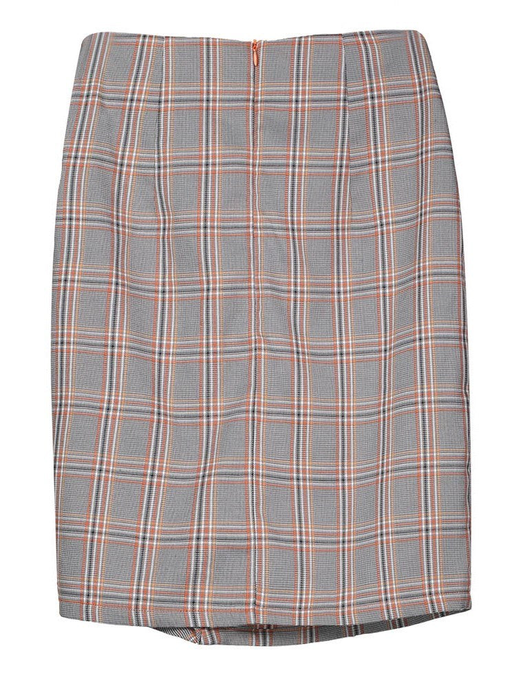 Size L Bodycon Knee-Length Pleated Preppy High Waist Skirt
