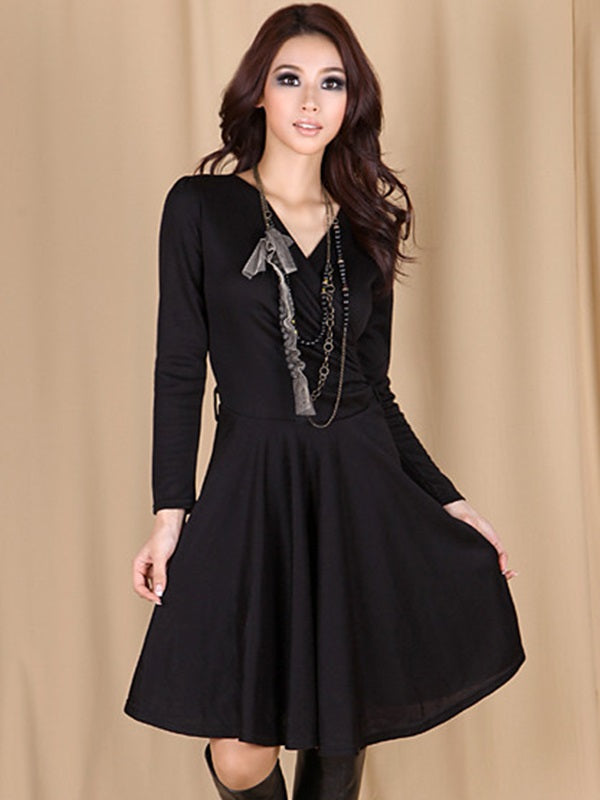 Size XL Long Sleeve Belt Knee-Length A-Line Plain Dress