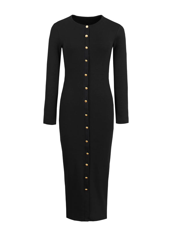 Size M Button Long Sleeve Round Neck Bodycon Single-Breasted Dress